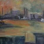 2007 Sonnenuntergang im Hafen 70x100